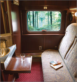 An interior view of a typical sleeper car in the new luxe Amtrak service operated by GrandLuxe Rail Journeys.