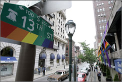 "A street sign is seen in a gay-friendly section of Philadelphia known as the ""gayborhood."" Philadelphia has become more sophisticated in its effort to attract part of the annual $55 billion gay tourism market."