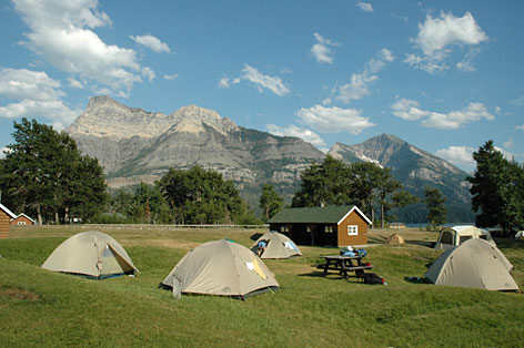 The family adventure group spends two nights at the mountain-ringed Waterton campground in Waterton National Park. Backroads staffers set up all the tents while the group is off biking and hiking, leaving more time for fun.