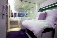 The new Japanese-style Yotel! at London's Gatwick Airport is now open in the International terminal.The Heathrow location (in Terminal 4) opens later this autumn, and Amsterdam Schiphol opens in early 2008. Here is a glance of the Premium Cabin.