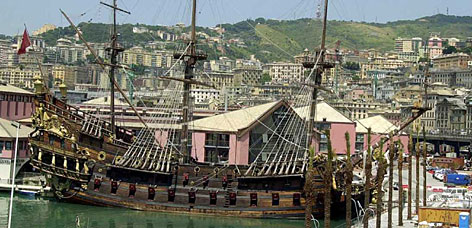 "A  galleon built for the 1986 Roman Polanski movie ""Pirates"" is docked in the historic Italian port of Genoa, where it now serves as a tourist attraction."