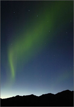 In Alaska: The Northern Lights perform high above Denali National Park.
