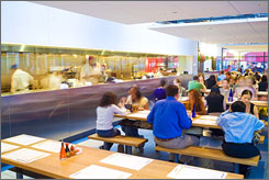 At Wagamama in Boston, patrons enjoy communal tables, perfect for solo diners who may wish to spark up a conversation, and speedy service.