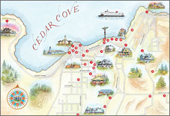 Look familiar? A map of author Debbie Macomber's fictional Puget Sound hamlet of Cedar Cove.