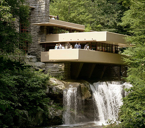 Fallingwater, one of the best-known works of renowned architect Frank Lloyd Wright, looks over Bear Run waterfall in Big Run, Pa.