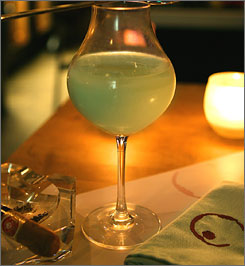 No, you aren't hallucinating: The Smoke and Mirrors absinthe cocktail, as it is prepared at BIN 8945 Wine Bar and Bistro in West Hollywood.