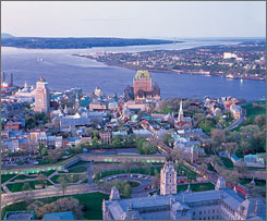 Old World charm: Le Chateau Frontenac dominates this aerial view of Old Quebec. A year-long extravaganza celebrating the city's 400th anniversary kicks off Dec. 31.