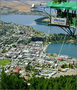 """A glimpse of what it looks like to take a leap from """"The Ledge"""" bungee platform, on a mountain 400 feet above the city of Queenstown, New Zealand's adventure capital."""