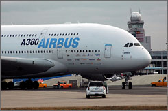 The Airbus A380, the world's largest commercial airliner, lands at Bradley International Airport in Conn. The model will seat more than 520 passengers, but this test aircraft is not outfitted with a passenger cabin.