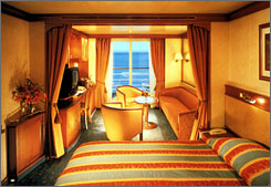 "Silverstein gives ""Best Overall Cabin"" honor to Norwegian and Regent Seven Seas Cruises. Here, a standard balcony suite on a Regent Seven Seas cruise."
