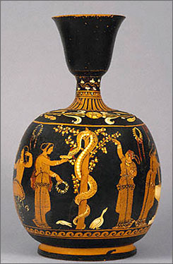 This vase depicting a garden scene dating from 350 B.C. is attributed to the ceramist Asteas. The vase is one of the four artifacts from the J.Paul Getty Museum that has returned to Italy. 