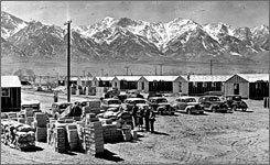 Here, a historical photo of the Manzanar internment camp in the desert near Independence, Calif. Today, Manzanar offers tours, movies, and exhibits to help understand what life within the World War II camp was like.