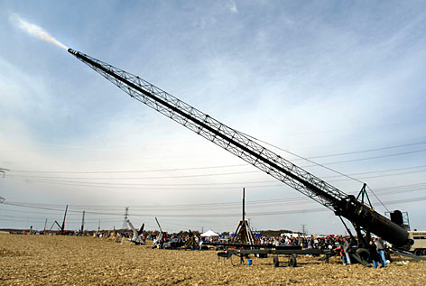 The Aludium Q-36 Pumpkin Modulator at the Punkin' Chunkin' contest in Morton, Ill., can  launch a pumpkin several thousand feet and holds the record for the longest pumpkin launch at just under one mile.