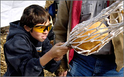 "Devin Selby  of Herrick, Ill., aims his slingshot machine called the ""Pumpkin Shooter,"" at the Morton, Ill., Punkin' Chunkin' contest."