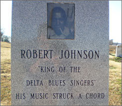 One of three headstones honoring legendary blues guitarist Robert Johnson can be found on a visit to the Mississippi Delta.
