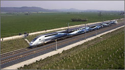 The special V150 French TGV high-speed train travels along a newly-built track to break the world speed record at 574.8 kilometres (357 miles) per hour in France's Champagne region.