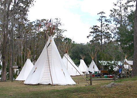 Campers erect the tepee village each year around Thanksgiving at Disney's Fort Wilderness Resort and Campground in Lake Buena Vista, Fla.