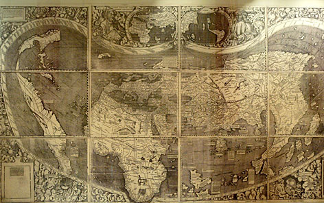 "First map of ""America"": Martin Waldseemuller's 1507 world map at the Library of Congress shown in 2003. Starting in December, the library will display the original, which was bought for $10 million."