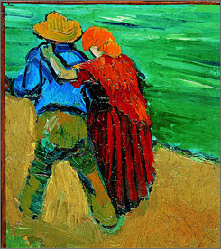 """A Loving Couple"" by Dutch painter Vincent van Gogh (1853-1890) is on display in Amsterdam's Van Gogh Museum. The small piece is all that remains of a larger canvas that Van Gogh discarded as a failure."