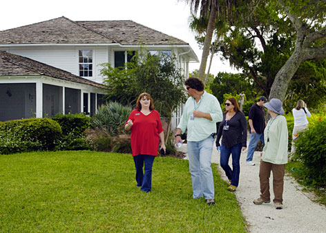 Spanish Point marketing coordinator Laura Dean, left, leads a group of movie location managers through  Spanish Point in Osprey, Fla. Location managers are the individuals who help find, and secure permission for film production companies to shoot at a particular location.
