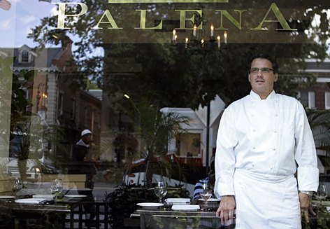 Chef Frank Ruta stands looks at from  his restaurant Palena. This year's title of Best Chef in the Mid-Atlantic region from the James Beard Foundation, which picked clear favorites in the other nine regions of the country opted for a tie here between Palena and Vidalia.