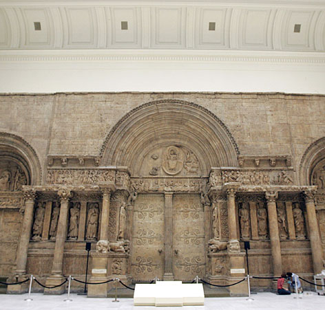 The reproduction of  the large facade of the French Benedictine Abbey Church of St. Gilles from Gard, France, which measures nearly 40 feet high and about 78 feet wide, is seen  in the Carnegie Museum of Art's Hall of Architecture in Pittsburgh, Pa.