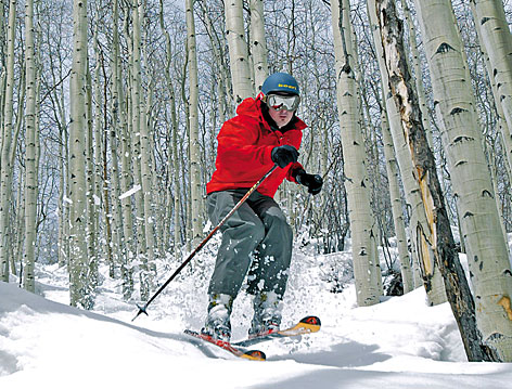 Eric Aman is shown skiing through trees in March 2006 at Vail Mountain, in Vail, Colo. Ski clubs organize trips to Vail and exotic ski destinations for skiers that live nowhere near the slopes.