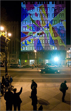 In Philadelphia: The City of Brotherly Love kicked off the holiday season early this year with the lighting of five buildings along South Broad Street with a temporary art installation.