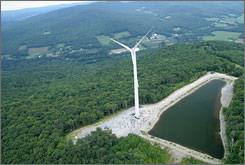 Breezing in: Jiminy Peak resort in Hancock, Mass., built a 386-foot wind turbine, which generates about a third of the resort's energy needs.