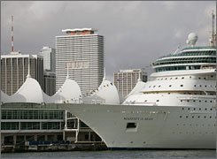 The Royal Caribbean cruise ship Majesty of the Seas lies docked at the Port of Miami.