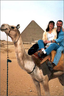 Up for the challenge: A Global Scavenger Hunt team finds transportation in Giza, Egypt, in 2005.