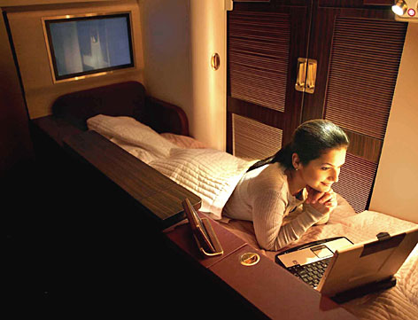 Each First Class suite by JetAirways provides over 26 square feet of usable space and features dual sliding doors that create complete privacy for every passenger choosing to fly the airline.