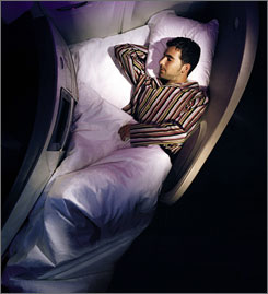 An increasing number of airlines are offering flat-bed seats to business and/or first class international passengers like this one offered by Virgin Atlantic Airways.