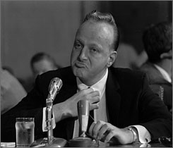 "Frank ""Lefty"" Rosenthal sits at a witness table before the Senate Investigations Subcommittee in 1961 during a probe of organized gambling. Las Vegas is building a museum about some of its founding fathers with names like Bugsy, Lefty and Lansky."