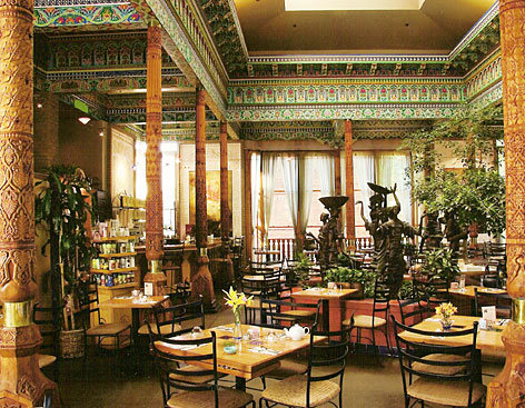 Artistic atmosphere: The Dushanbe Teahouse in Boulder, Colo., serves exotic teas to match its Tajikistan architecture.