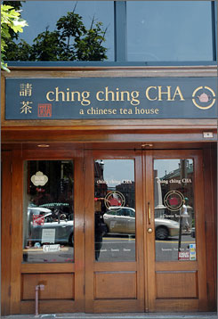Get comfortable: Customers in Washington's Ching Ching Cha sit on silk pillows.
