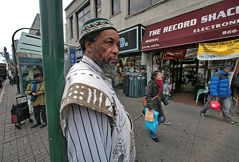 Sikhulu Shange, owner of The Record Shack for 35 years, stands in front of his store in the New York neighborhood of Harlem. According to Mr. Shange, development will force him to close the doors of the cultural music store in just a few months. Harlem is the historic capital of black American culture, but like many New York neighborhoods, it is rapidly changing.