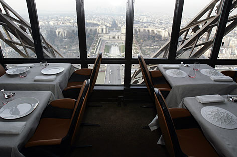 A view of the revamped Jules Verne restaurant, with the Trocadero plaza seen in background, on the second level of the 1,024-foot Eiffel Tower. Famous French chef Alain Ducasse will take over the kitchen of the restaurant overlooking Paris.