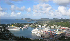 Cruise ships dock at St. Lucia.