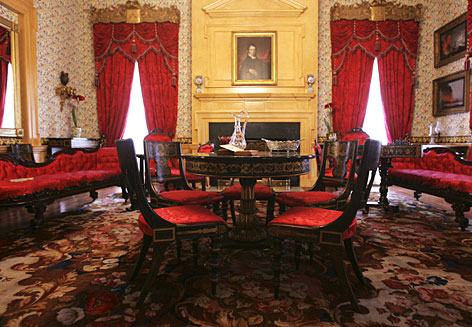 A lavishly decorated room at the Hampton Mansion in Towson, Md. With 24,000 square feet of living space, it was the largest private home in the United States when it was completed in 1790 and it is one of just a handful of plantation homes with extant slave quarters.