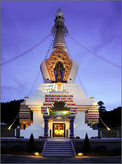 In Colorado: The Great Stupa of Dharmakaya, an elegant architectural representation of the Buddhist path, towers more than 108 feet at the Shambhala Mountain Center. 