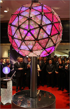 Building a better ball: The 1,212-pound computer-controlled orb that will be used for the 100th-anniversary ball drop can project 16 million color combinations in countless patterns.