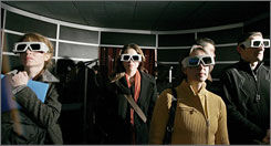 "Journalists wear 3-D glasses during the presentation of a virtual tour of the villa of Livia on a day inside Rome's ""Museo delle Terme di Diocleaziano"" (Museum of the Baths of Diocletian)."