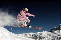 A skier enjoys the slopes at Grand Targhee Resort in Grand Targhee, Wyo.