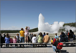 A webcam can capture the Old Faithful geyser at Yellowstone National Park.