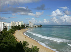 A view of Isla Verde Beach in Old San Juan, Puerto Rico.