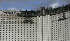 Fire forced guests and staff to evacuate the 3,000-room Monte Carlo Resort & Casino in Las Vegas on Friday.