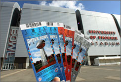 Super Bowl game tickets will get you admitted to the University of Phoenix Stadium in Glendale, Ariz., where the New England Patriots will play the New York Giants in Super Bowl XLII.