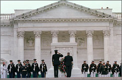 A wreath-laying ceremony takes place in front of the Tomb of the Unknowns in Arlington National Cemetery in Arlington, Va., on Memorial Day.