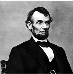 One of two photos taken of President Abraham Lincoln at Matthew Brady's Washington, D.C. studio in February 1864.  